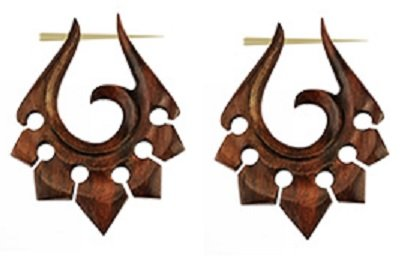 Sono Wood Organic Earrings (Pair of Organic Hand Carved Sono Wood Tribal Ornament Stirrup Hanger)