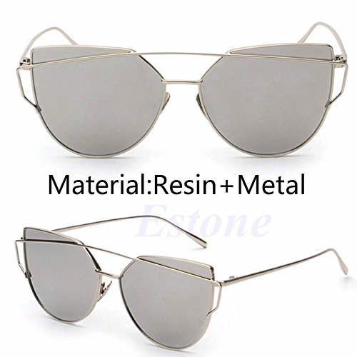 JUJU MALL-Women's Glasses Metal Flat Lens Vintage Mirrored Oversized - Buy Poc Sunglasses