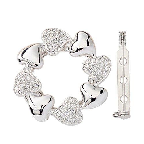 [Sewanz Women's Heart Diamante Metallic Scarves Buckle, Modern Silk Multi-uses Scarf Clip Brooch] (Buckle Silk)