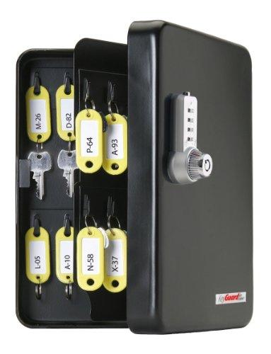 KeyGuard Caja para llaves, con combinación (48 ganchos), cromado de 4 dígitos, 48 Hook, Acabado negro