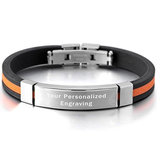 MeMeDIY Stainless Rubber Bracelet Bangle product image