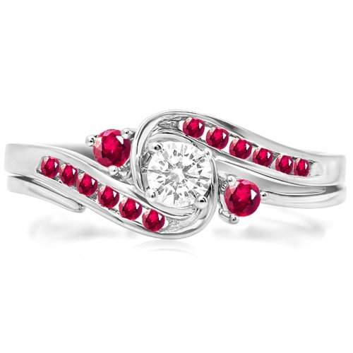Dazzlingrock Collection 18K Round Ruby And White Diamond Swirl Bridal Engagement Ring Matching Band Set, White Gold, Size 6.5