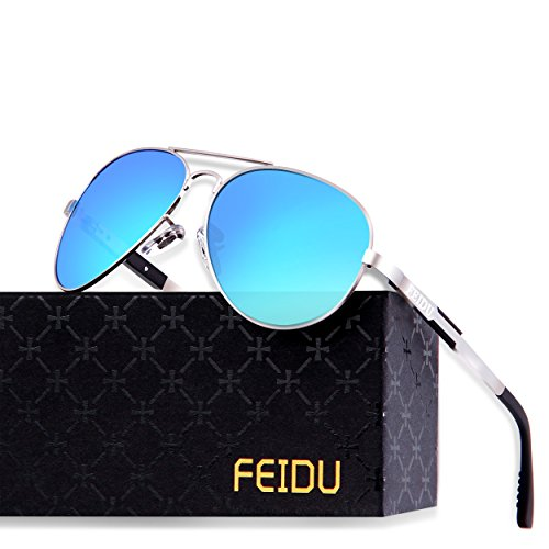 FEIDU Mens Polarized Aviator Sunglasses Metal Frame Unisex Sun Glasses FD9001 (Blue/Silver, 2.24) by FEIDU