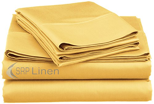 - SRP Linen 500-Thread-Count Super Soft Extra Deep Pocket Sheet Set King/Eastern King Solid Gold Fit Up to 24