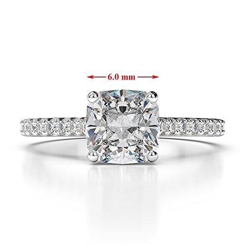 G-H/VS 1CT Coussin Coupe sertie de diamants et saphir Bague de fiançailles en platine 950Agdr-1216