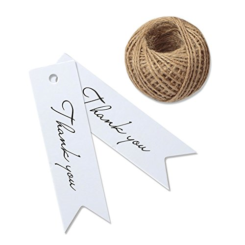 Thank You Tags, G2PLUS 100 PCS 'Thank you' Printed Christmas Tags, Paper Hang Tags for Wedding Favors Paper Gift Tags with 100 Feet Jute Twine, Mini Tags with String (White)