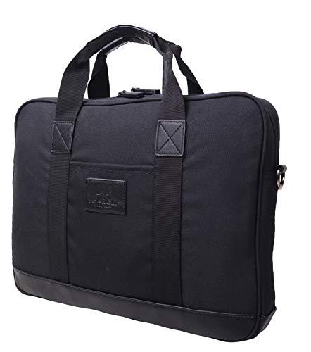 New York Slim Briefcase - Laptop Briefcase Messenger Bag Fits 14 inch Notebook Computer Crossbody Shoulder Hand Bag Nylon PU Leather Trimming Black