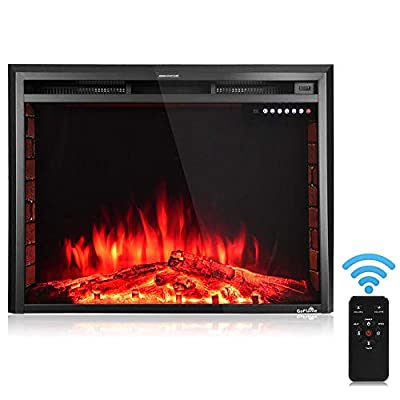 """Thaweesuk Shop Black 36'' 750W-1500W Fireplace Heater Electric Embedded Insert Timer Flame Remote Metal, Tempered Glass, Resin Charcoal 36""""x9""""x27"""" (LxWxH) of Set"""