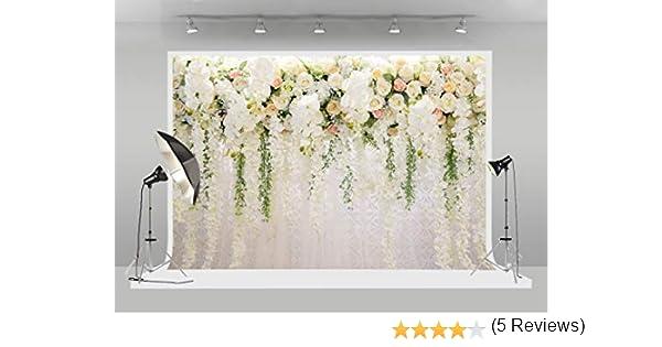 Huayi - Fondo de Pared con diseño de Flores Blancas para fotografía de Bodas, Fiestas de Novia, decoración de Cabina de Fotos: Amazon.es: Electrónica