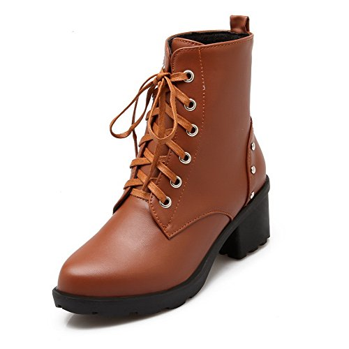 Allhqfashion Women's Kitten-Heels Soft Material Low-top Solid Lace-up Boots Brown