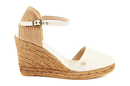 VISCATA Satuna Ankle-Strap, Closed Toe, Classic Espadrilles with 3-inch Heel Made in Spain Off White