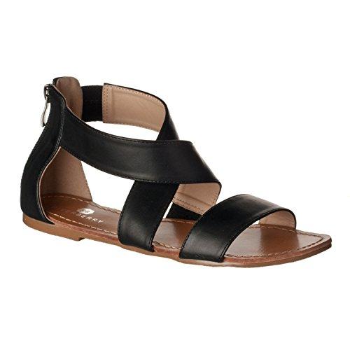 Zippered Women Sandals - Riverberry Women's Claire Crisscross Strap Open Flat Sandals, Black PU, 10