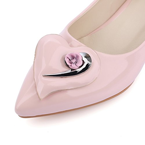 Amoonyfashion Damesslip Op Lage Hakken Pu Solide Puntige Dichte Teen Pumps-schoenen Roze