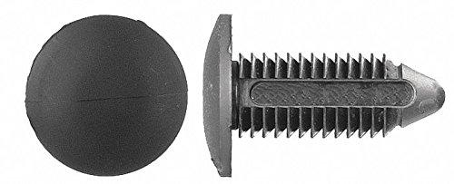 Ribbed Push In Rivet, Nylon, 10mm Dia, 30mm L, 10mm, Black