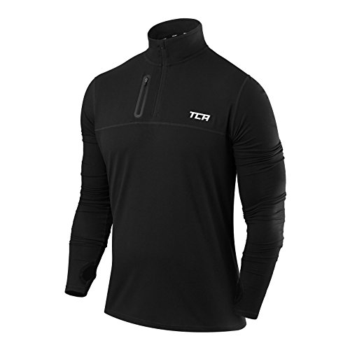 TCA Men's Fusion Pro Quickdry Long Sleeve Half-Zip Running Top Black M