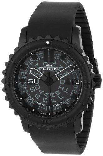 Fortis-Mens-6751881-K-B-47-Big-Automatic-Black-PVD-Rotating-Bezel-Rubber-Watch
