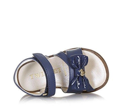 Twin-Set Blaue Sandale Aus Leder, Romantischer Stil, auf der Vorderseite eine Dekorative Schleife, Mädchen-22