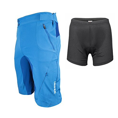(Urban Cycling Apparel Flex MTB Trail Shorts - Flex Soft Shell Mountain Bike Shorts with Zip Pockets and Vents (2XL, Blue, with Padded Underliner))