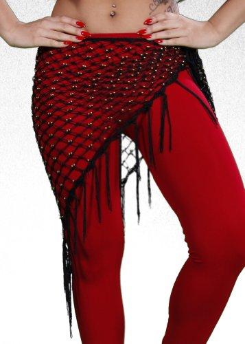 Belly Dance Beaded Net Hip Scarf | Ya Masri - Black/Gold