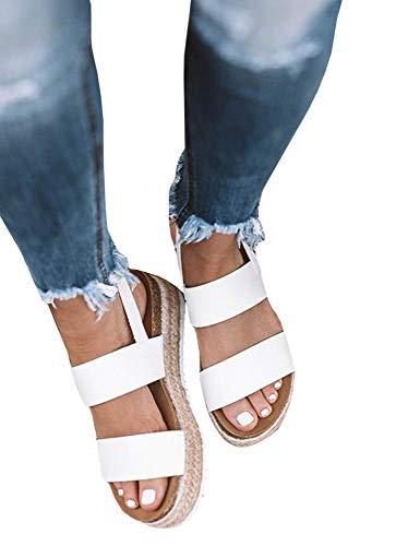 - Womens Espadrille Platform Sandals Open Toe Slingback Ankle Strap Buckle Cork Sole Flats Heel Sandals