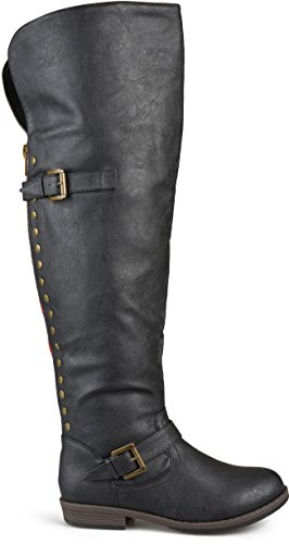 Brinley Co Women's Sugar Over The Over The Knee Boot, Black, 9.5 Wide/Wide Shaft US