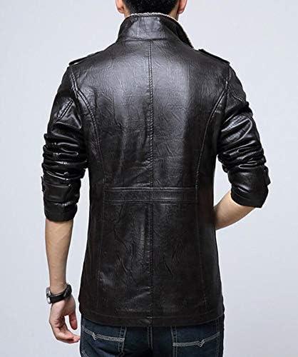 WENHUI Mens Casual Leather Jacket Plus Velvet Thickening Slim Locomotive PU Leather Jacket