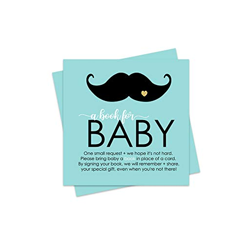 Mustache Bring a Book for Baby Insert - 25 Pack