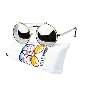 V135-vp Style Vault Round Flip up Django Metal Sunglasses (B2740F Gold-mirror)