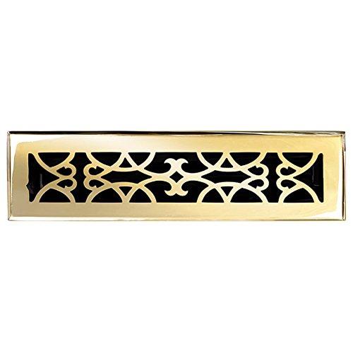 Brass Elegans 120B PLB Solid Cast Brass Victorian 2-1/4-Inch by 12-Inch Floor Register, Polished Brass Finish Model