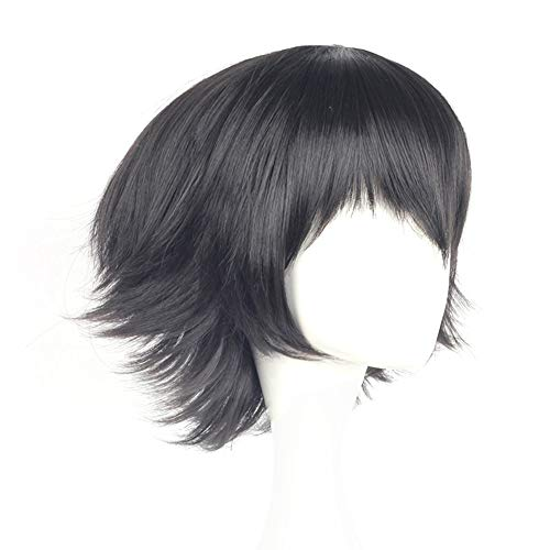 Raleighsee Stray Dogs Anime Cosplay Wig Ryunosuke Akutagawa Novelty Black High Temperature Wire Juvenile Anti-Warping Wig Anime Fans Gift