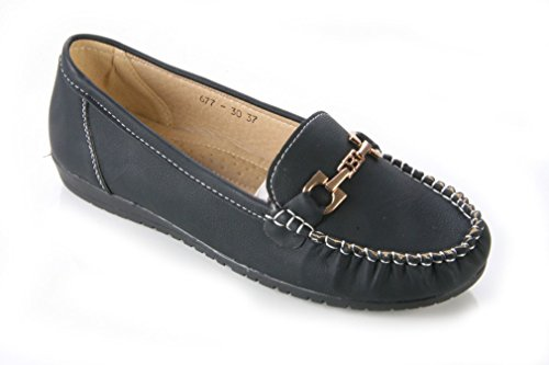 SCHOOL WOMENS LADIES LOAFERS OFFICE FLAT METAL SIZES 8 SHOES WORK TRIM 3 aaR10q