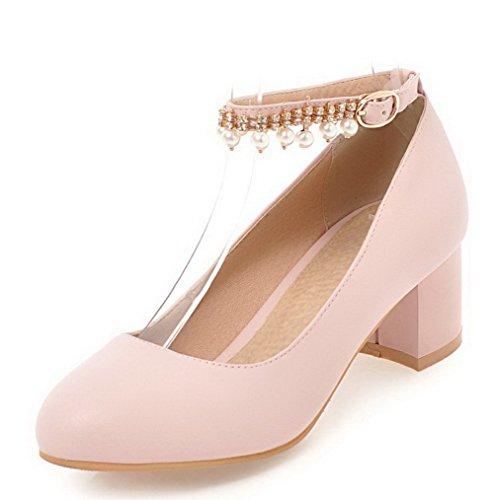Odomolor Women's Buckle Round-Toe Kitten-Heels Pu Soild Pumps-Shoes Pink
