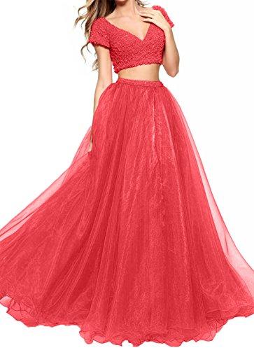 Lang Abendkleider Perlen Damen Organza Prinzess teilig Abschlussballkleider Charmant Promkleider Neu Zwei Rot 2018 qRnwOPf