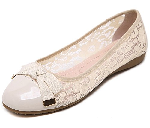 Bowknot In Pizzo E Pianura Donna Con Punta Arrotondata Slip On Summer Pumps Flats Shoes Beige
