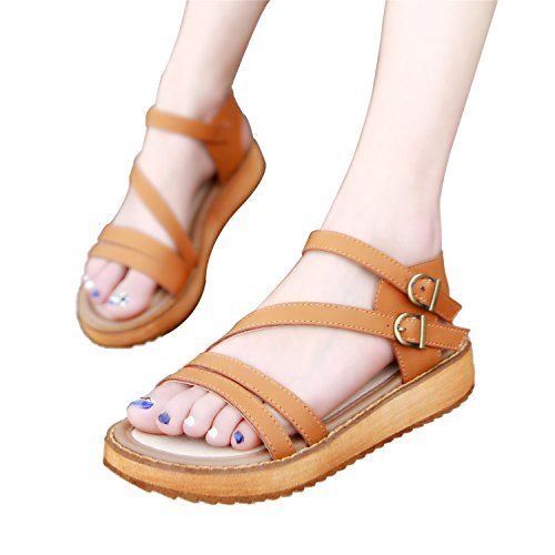 Sandals Strap Brown Toe Lady's Toe Shoes Wedge Gladiator Double Roman Open Smilun Sandal Cross Strappy OBaaq