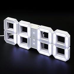 KIBARDIN DESIGN LED CLOCK WHITE&WHITE, 2M CORD.