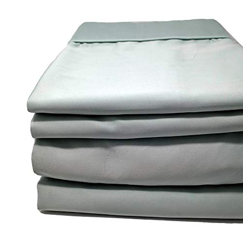 600 Tc Bed Sheet Set - Split Flex Top King Sheets - The Only Stay On and Not Tear Design - Cinches to Fit & Won't Pop Off! - Adjustable Bed Sheet - 600 TC Sheet Set 100% Cotton (Sea, Split Flex Top King)