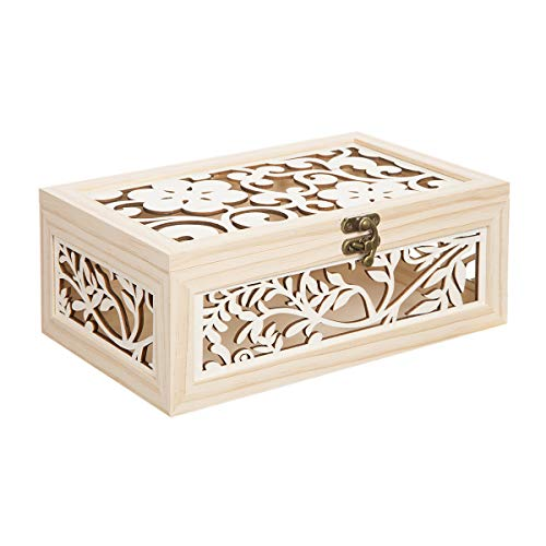 Darice Laser Cut Wood Box with Flower Motif, 10.5 inches, Unfinished/Natural