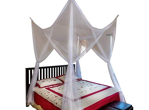 OctoRose 4 Poster Bed Canopy Netting Functional Mosquito Net Full Queen King (White) ()