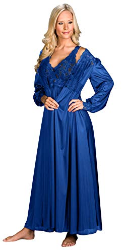Shadowline Silhouette Nightgown Robe Peignoir Set (Medium, Navy)