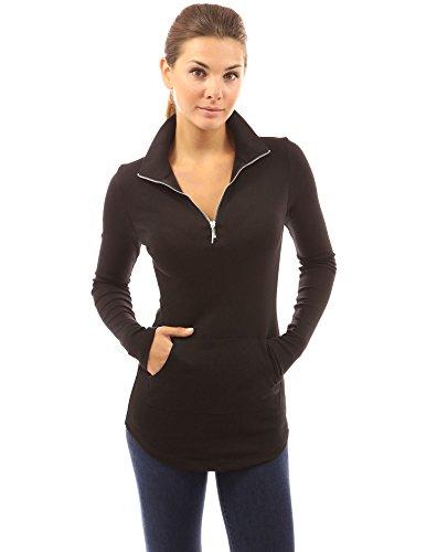 PattyBoutik Women's Zip Pocket Tunic (Black S)