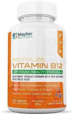 Vitamina B12 con ácido fólico | 200 comprimidos veganos premium de 1400mg | No modificada genéticamente ...