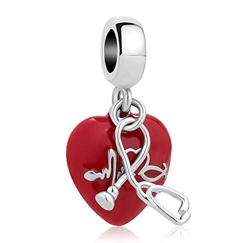 Casa De Novia Jewelry Nurse Stethoscope Medical Charms Heartbeat Red Enamel Bead fit European -