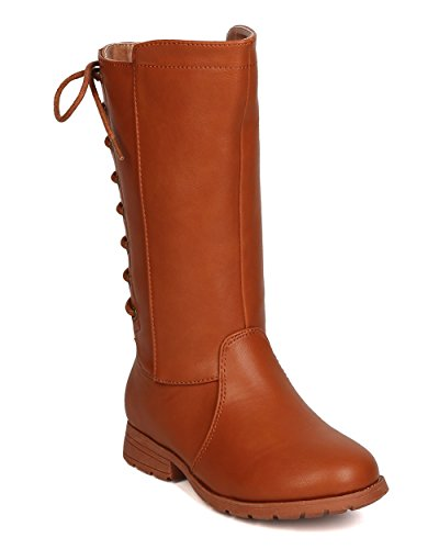 Girls Leatherette Back Lace Up Tall Riding Boot GB45 - Cognac (Size: Big Kid 3) by Little Angel (Image #5)