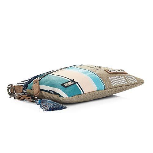 cremallera cremallera Forro bandolera ajustable Cierre con SKPA 2 Beige Color 92966 compartimentos con estampado Incluye llavero T 92983 Bolso independientes nxqwq7BO