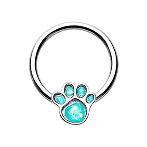 Paw Print Tunnel (Animal Lover Paw Print Glitter Opal Steel WildKlass Captive Bead Ring (16g 3/8