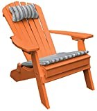 ORANGE POLYWOOD FOLDING RECLINING ADIRONDACK CHAIR, Poly Wood Outdoor Porch and Patio Seating, All Weather Outdoor Deck Patio Furniture, Foldable Pack Up for RV Traveling Camping, 12 Choices, Orange For Sale