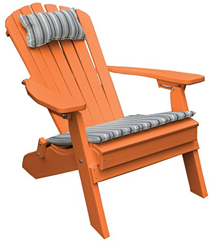 ORANGE POLYWOOD FOLDING RECLINING ADIRONDACK CHAIR, Poly Wood Outdoor Porch and Patio Seating, All Weather Outdoor Deck Patio Furniture, Foldable Pack Up for RV Traveling Camping, 12 Choices, -