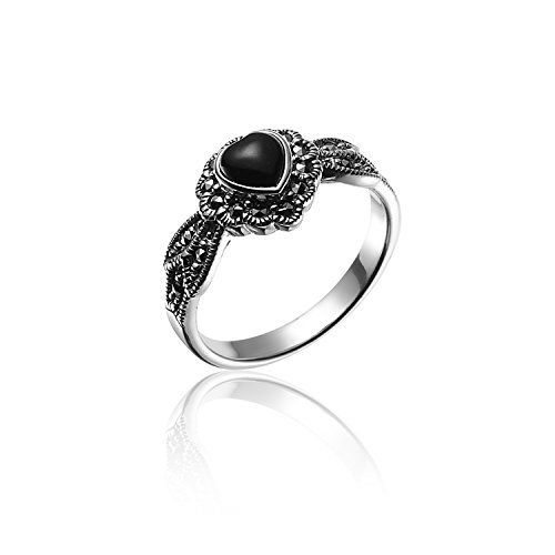 (Chuvora 925 Oxidized Sterling Silver Marcasite Black Onyx Heart Leaf Ring Size 8 - Nickle Free)
