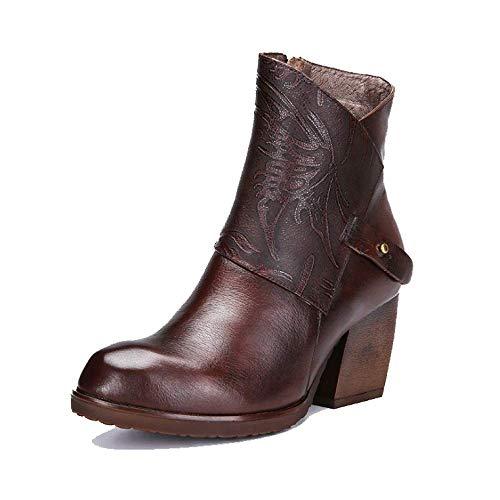 vintage bottines Zpedy Chelsea élégants femmes talons café pour chaussures confort hauts x7nW0a7UB